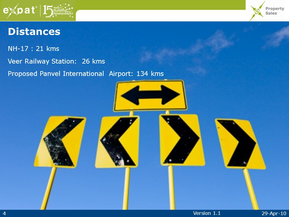 429-Apr-10 Version 1.1 NH-17 : 21 kms Veer Railway Station: 26 kms Proposed Panvel International Airport: 134 kms Distances