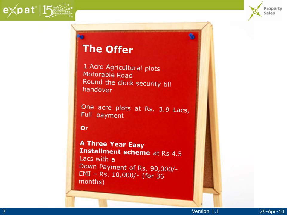 729-Apr-10 Version 1.1 The Offer One acre plots at Rs.