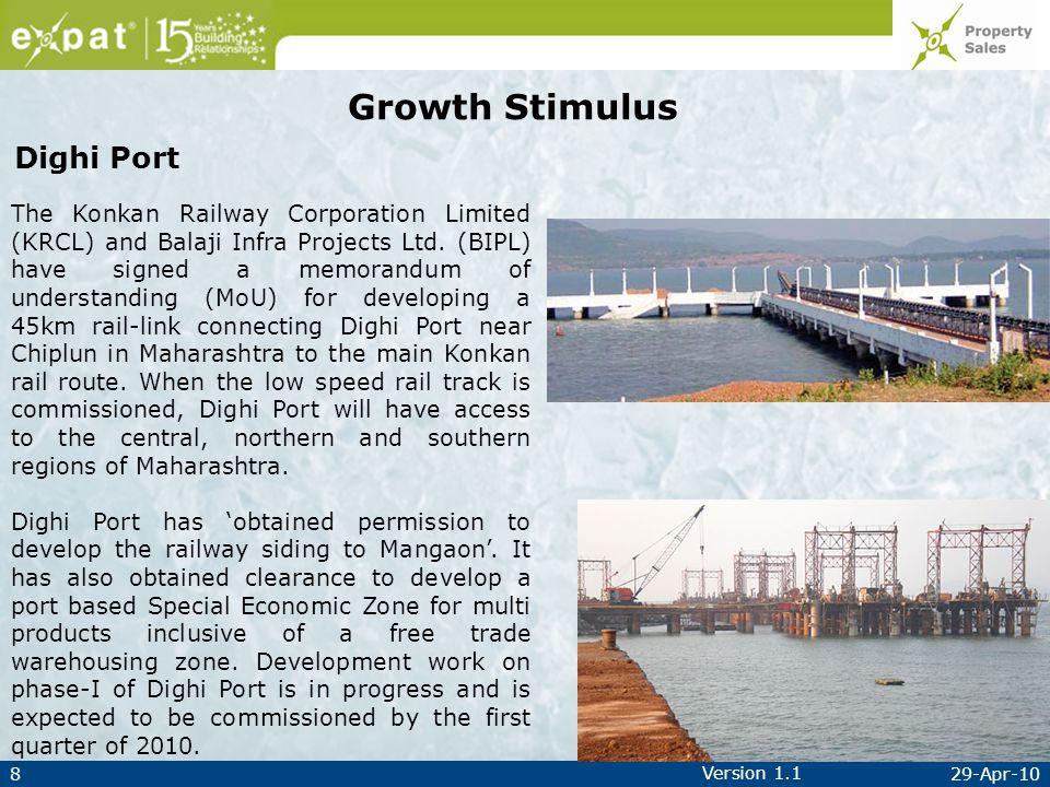 829-Apr-10 Version 1.1 Growth Stimulus The Konkan Railway Corporation Limited (KRCL) and Balaji Infra Projects Ltd.