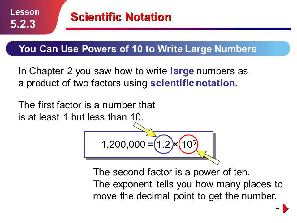 4 Scientific Notation You Can Use Powers of 10 to Write Large Numbers Lesson 5.2.3 In Chapter 2 you saw how to write large numbers as a product of two