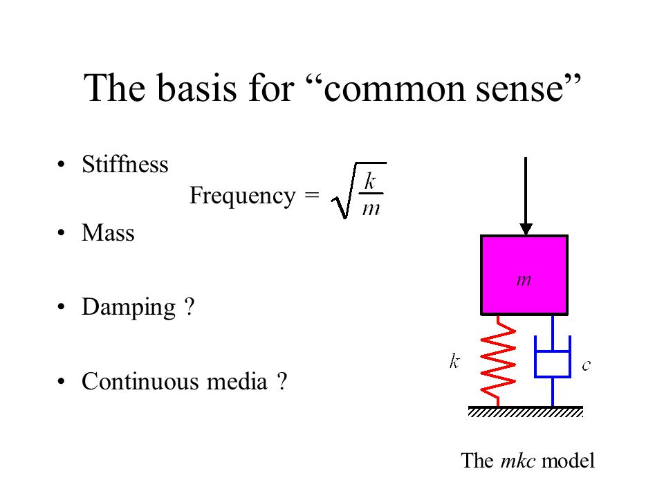 The basis for common sense Stiffness Frequency = Mass Damping ? Continuous media ? The mkc model