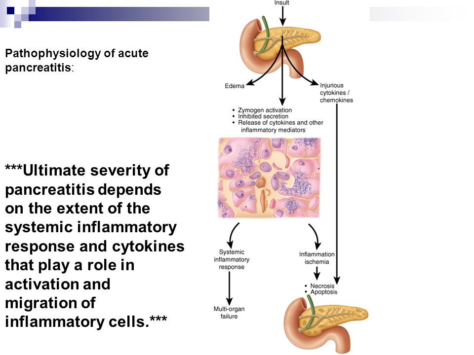 Pathophysiology of acute pancreatitis: ***Ultimate severity of pancreatitis depends on the extent of the systemic inflammatory response and cytokines