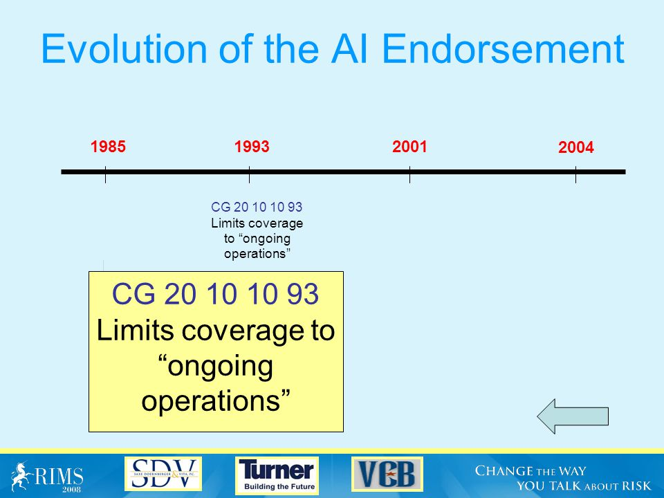 Evolution of the AI Endorsement 1985 2004 20011993 CG 20 09 11 85 Specifically excludes completed operations CG 20 09 11 85 Specifically excludes completed operations