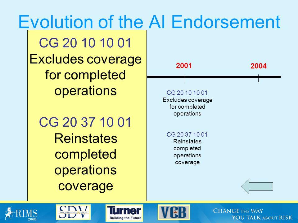 Evolution of the AI Endorsement CG 20 10 10 93 Limits coverage to ongoing operations 1985 2004 20011993 CG 20 10 10 93 Limits coverage to ongoing operations
