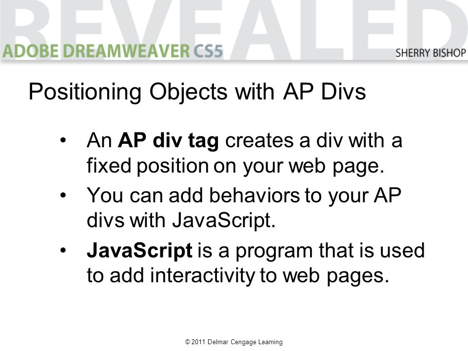 © 2011 Delmar Cengage Learning An AP div tag creates a div with a fixed position on your web page. You can add behaviors to your AP divs with JavaScri
