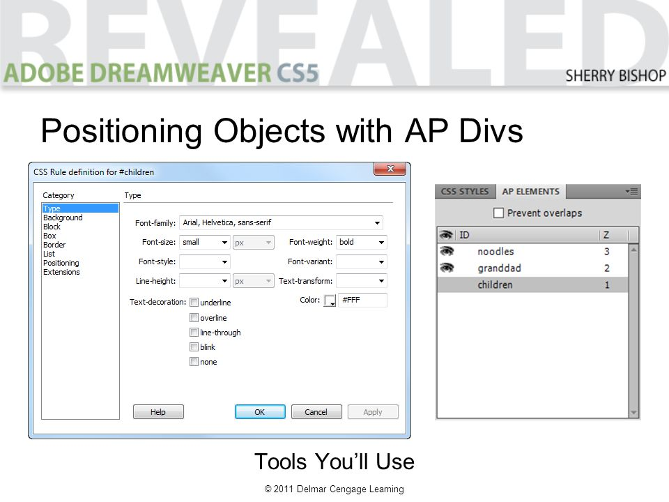 © 2011 Delmar Cengage Learning Positioning Objects with AP Divs Tools You'll Use