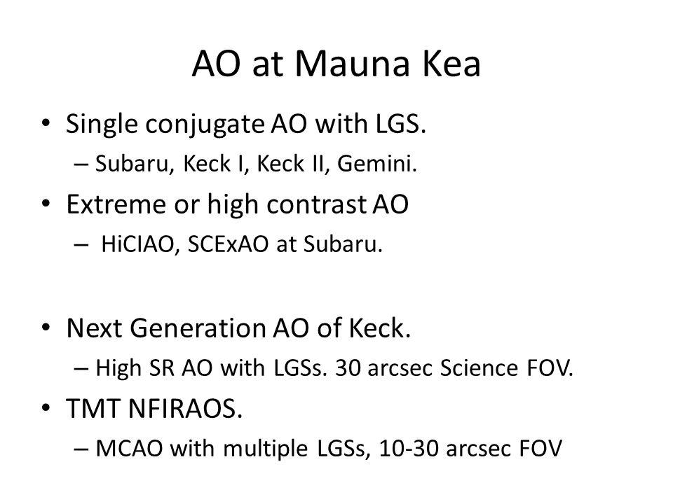AO at Mauna Kea Single conjugate AO with LGS. – Subaru, Keck I, Keck II, Gemini.