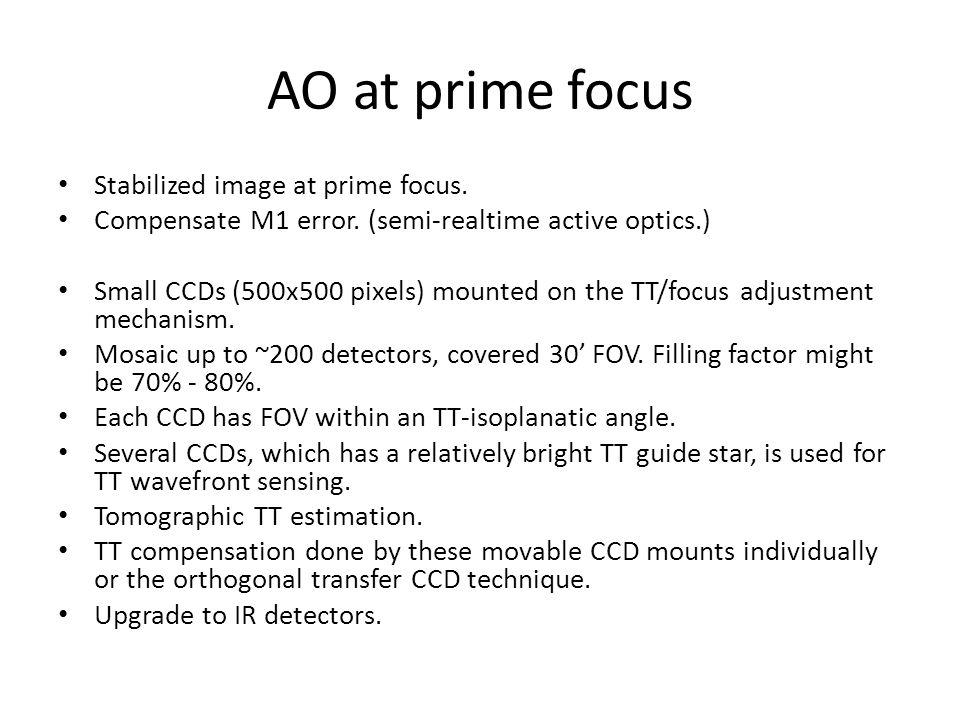 AO at prime focus Stabilized image at prime focus.