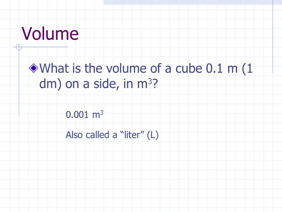 Volume What is the volume of a cube 0.1 m (1 dm) on a side, in m 3 .