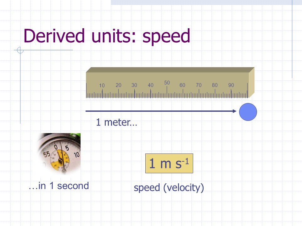 Derived units: speed 10 20 30 4060708090 50 1 meter… …in 1 second 1 m s -1 speed (velocity)