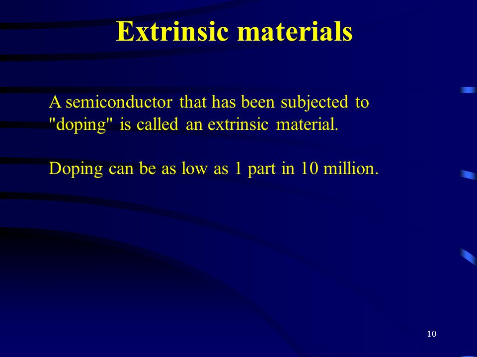 10 Extrinsic materials A semiconductor that has been subjected to