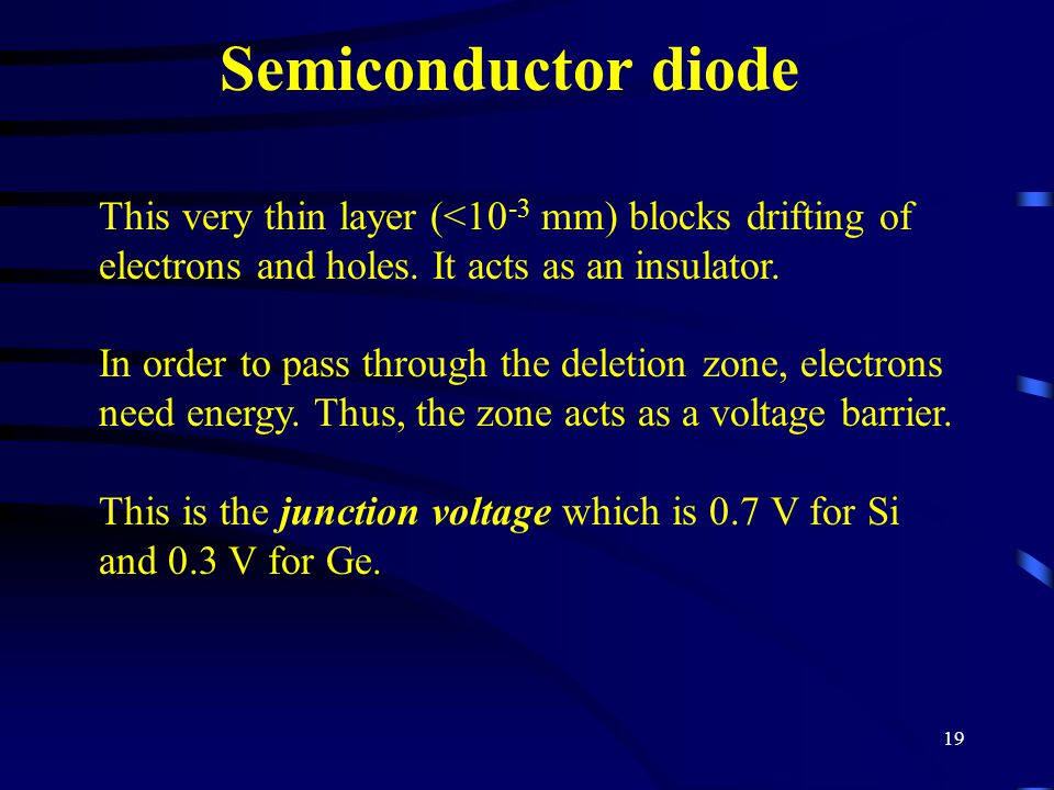 19 Semiconductor diode This very thin layer (<10 -3 mm) blocks drifting of electrons and holes. It acts as an insulator. In order to pass through the