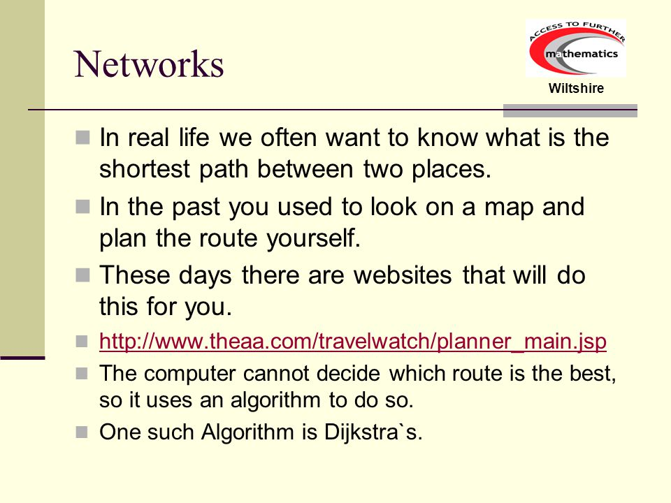 Wiltshire Dijkstra`s Algorithm Why does the method for finding the route at the end work.