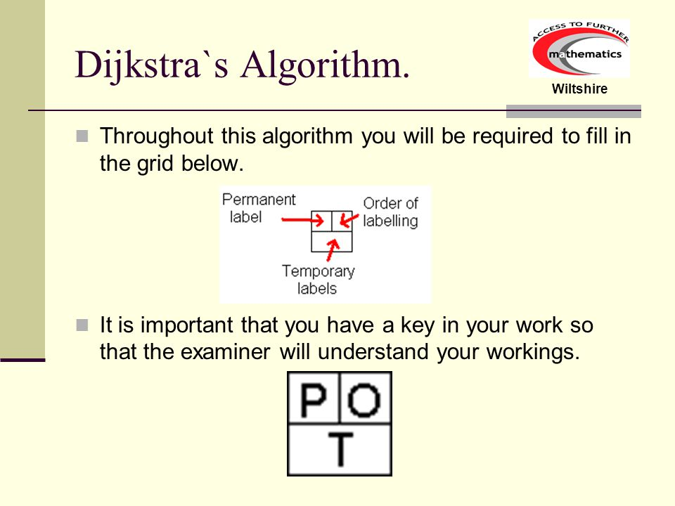 Wiltshire Dijkstra`s Algorithm Consider the network below.