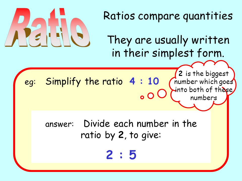 Ratios compare quantities They are usually written in their simplest form.