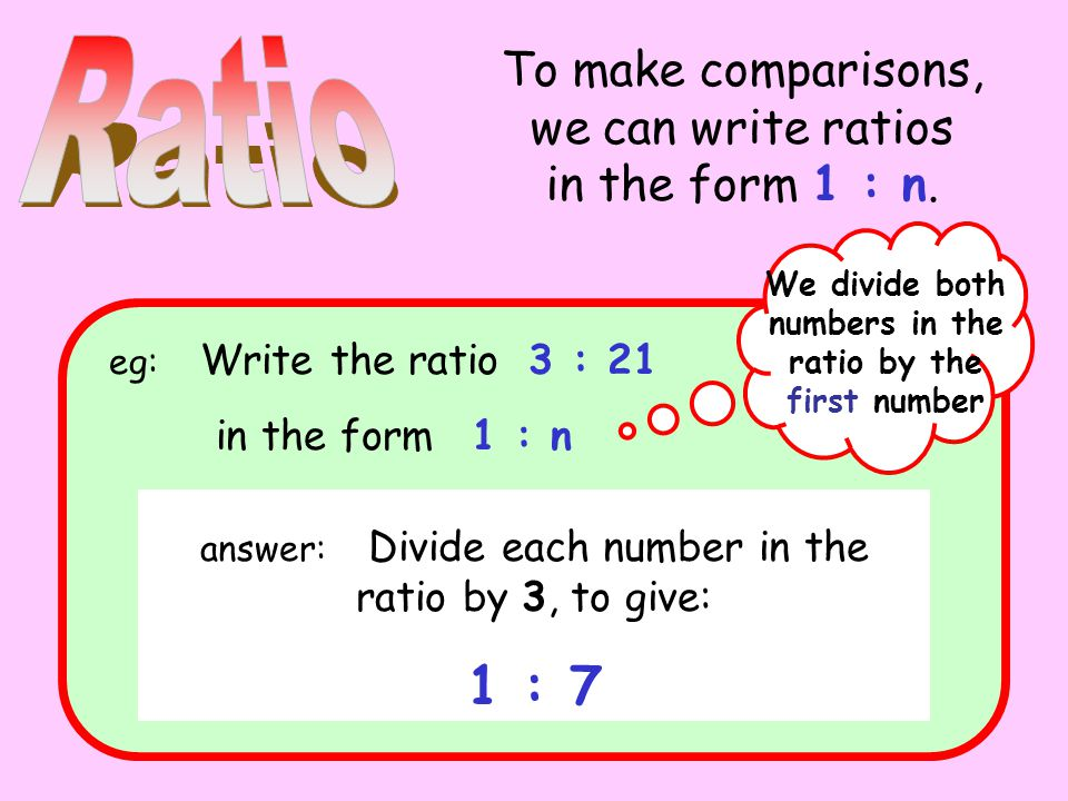 To make comparisons, we can write ratios in the form 1 : n.