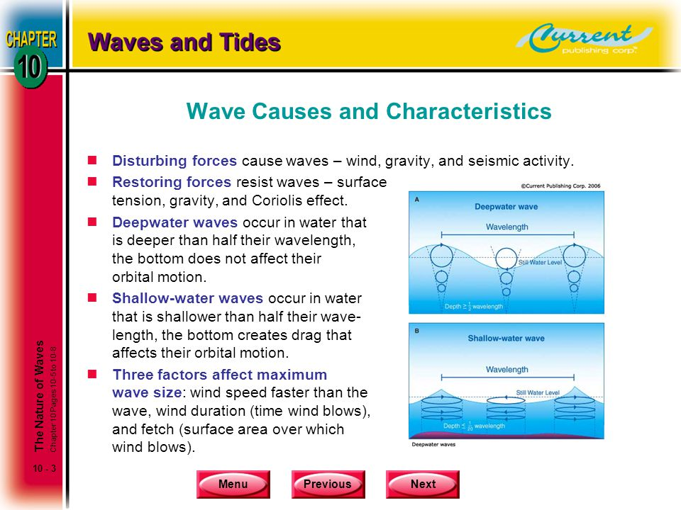 MenuPreviousNext 10 - 3 Wave Causes and Characteristics nDisturbing forces cause waves – wind, gravity, and seismic activity. nRestoring forces resist
