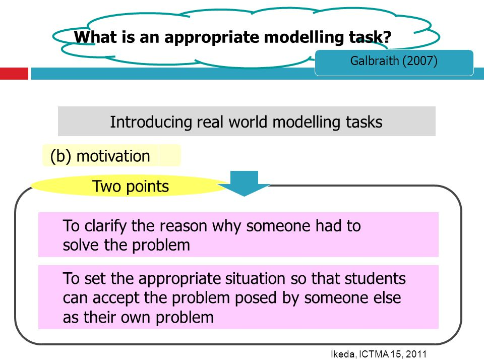 Two points To clarify the reason why someone had to solve the problem To set the appropriate situation so that students can accept the problem posed by someone else as their own problem (b) motivation Introducing real world modelling tasks What is an appropriate modelling task.