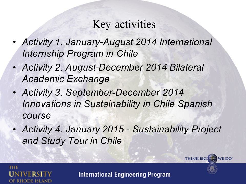 Key activities Activity 1.
