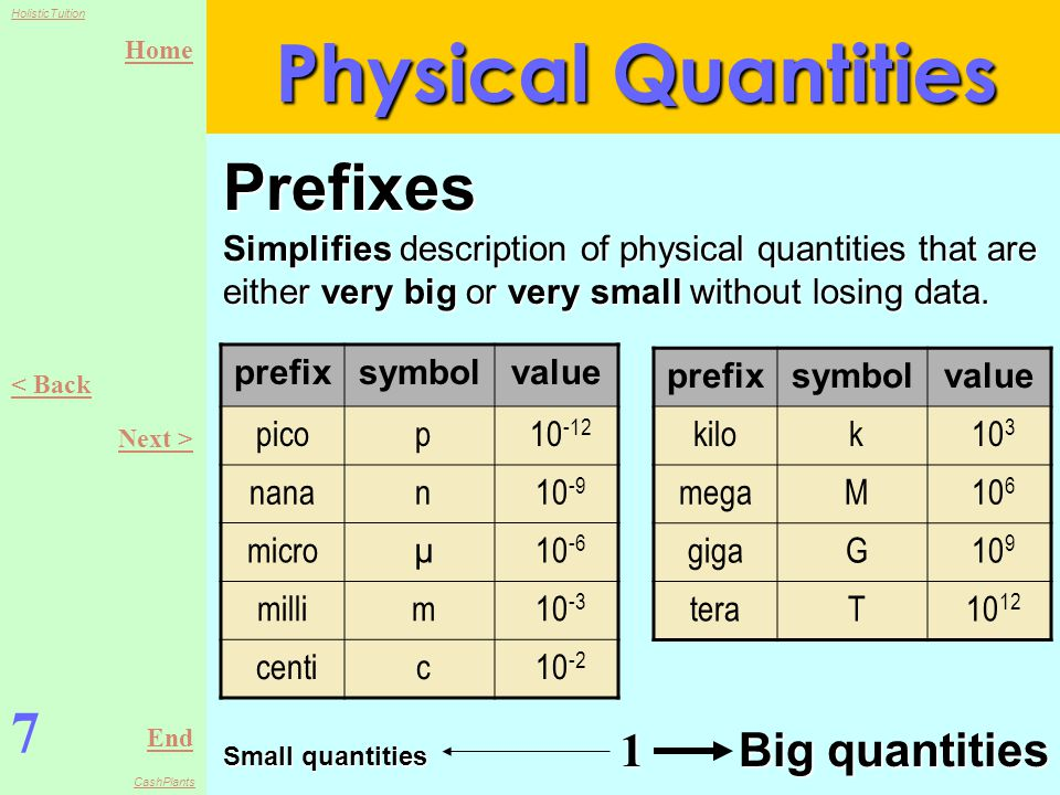 Home End HolisticTuition CashPlants 7 < Back Next > Physical Quantities Prefixes Simplifies description of physical quantities that are either very big or very small without losing data.