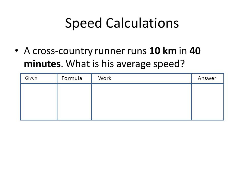 A cross-country runner runs 10 km in 40 minutes. What is his average speed? GivenF FormulaWorkAnswer