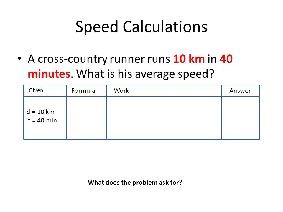 Speed Calculations A cross-country runner runs 10 km in 40 minutes. What is his average speed? GivenF FormulaWorkAnswer d = 10 km t = 40 min What does