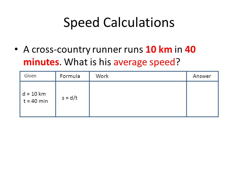 Speed Calculations A cross-country runner runs 10 km in 40 minutes. What is his average speed? GivenF FormulaWorkAnswer d = 10 km t = 40 min s = d/t