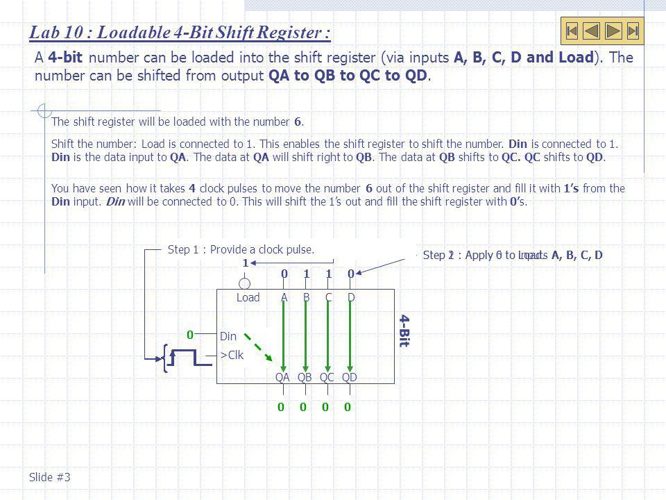 Lab 10 : Re-circulating Shift Register.