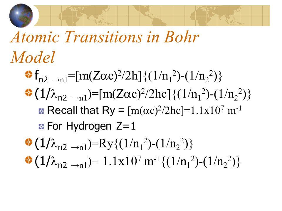 Atomic Transitions in Bohr Model f n2 →n1 =[m(Z  c) 2 /2h]{(1/n 1 2 )-(1/n 2 2 )} (1/ n2 →n1 )=[m(Z  c) 2 /2hc]{(1/n 1 2 )-(1/n 2 2 )} Recall that Ry = [m(  c) 2 /2hc]=1.1x10 7 m -1 For Hydrogen Z=1 (1/ n2 →n1 )=Ry{(1/n 1 2 )-(1/n 2 2 )} (1/ n2 →n1 )= 1.1x10 7 m -1 {(1/n 1 2 )-(1/n 2 2 )}