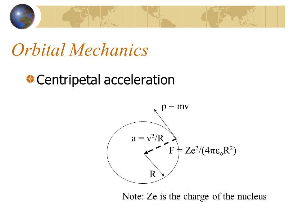 Orbital Mechanics Centripetal acceleration p = mv R F = Ze 2 /(4  o R 2 ) a = v 2 /R Note: Ze is the charge of the nucleus