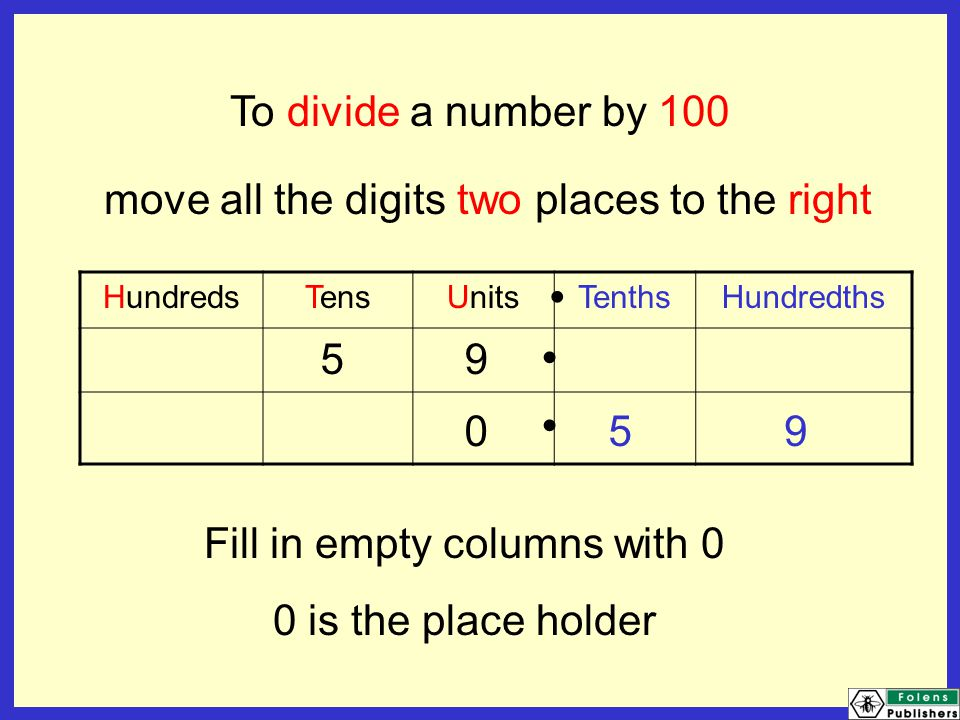 To divide a number by 1000 move all the digits three places to the right ThousandsHundredsTensUnitsTenthsHundredths Fill in empty columns with 0 We don't need a 0 here.