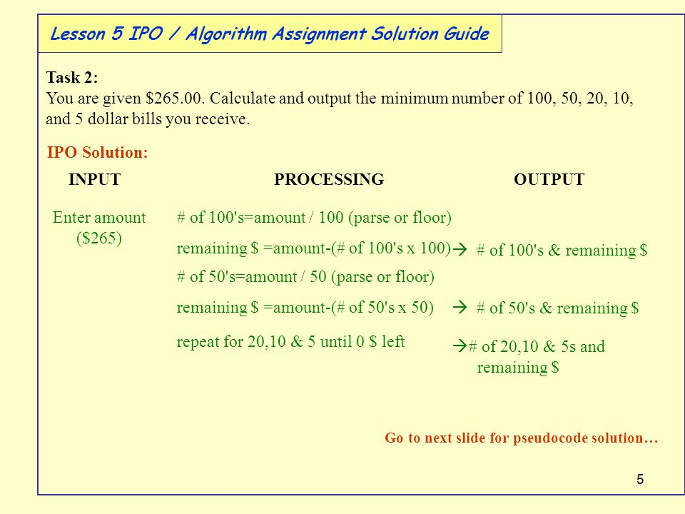 5 Lesson 5 IPO / Algorithm Assignment Solution Guide Task 2: You are given $265.00.