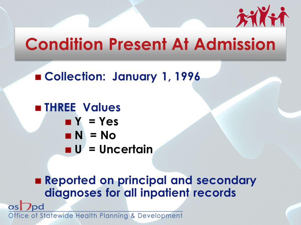Collection: January 1, 1996 THREE Values Y = Yes N = No U = Uncertain Reported on principal and secondary diagnoses for all inpatient records Condition Present At Admission