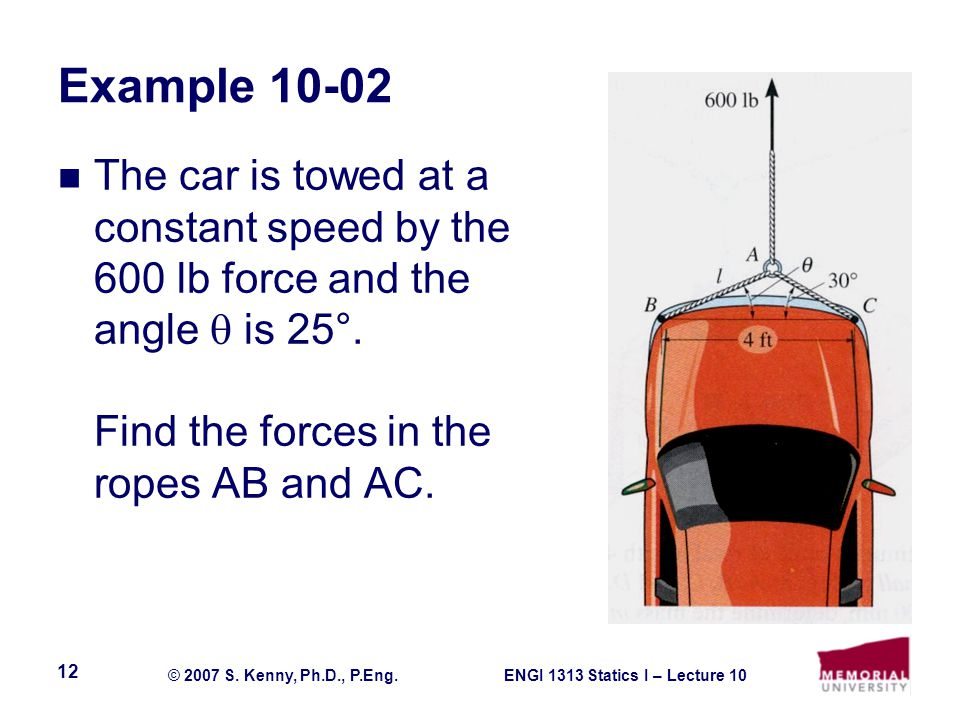 ENGI 1313 Statics I – Lecture 10© 2007 S. Kenny, Ph.D., P.Eng. 12 Example 10-02 The car is towed at a constant speed by the 600 lb force and the angle