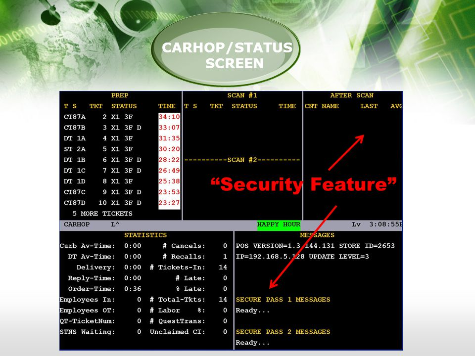 PRODUCTION CARHOP/STATUS SCREEN Security Feature