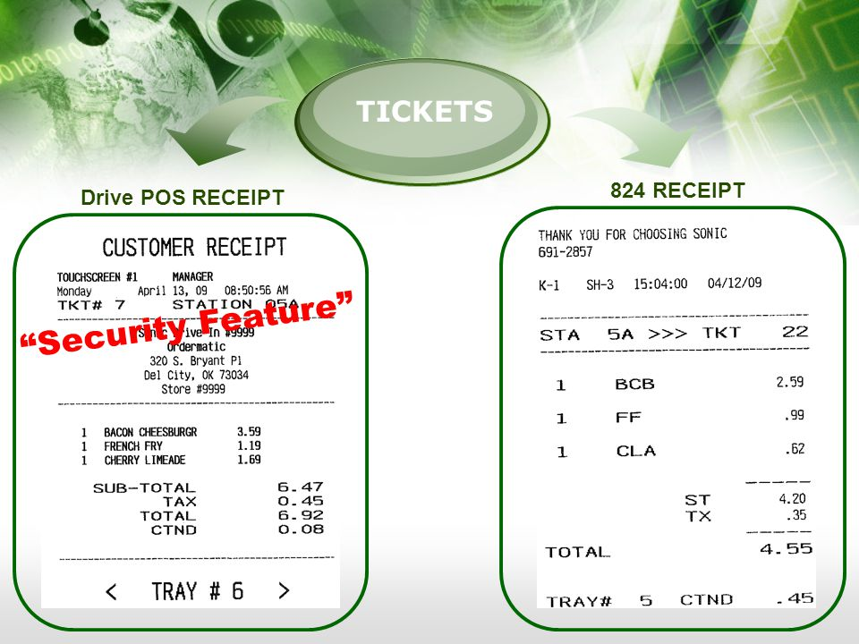 TICKETS Drive POS RECEIPT 824 RECEIPT Security Feature