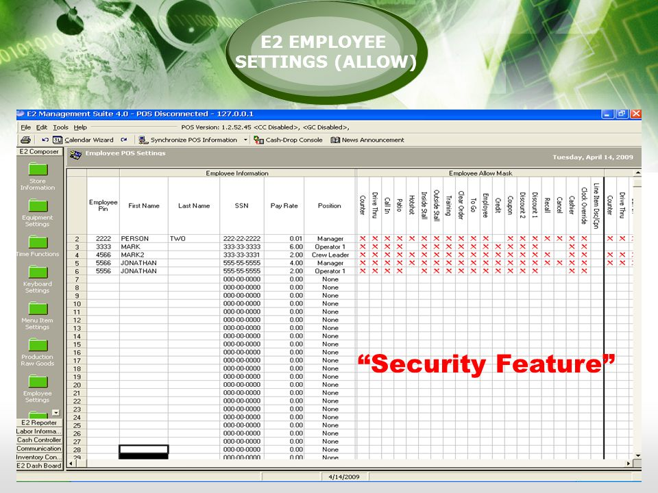 E2 EMPLOYEE SETTINGS (ALLOW) Security Feature