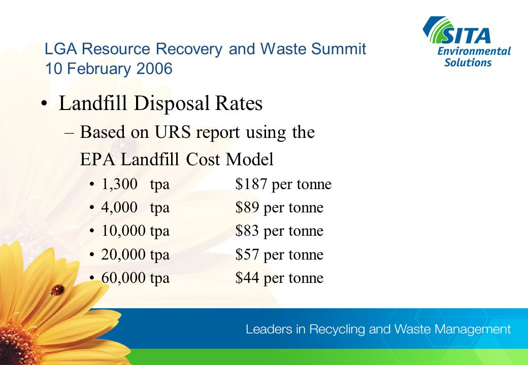 LGA Resource Recovery and Waste Summit 10 February 2006 Transfer Station Costs –Facility Drop off /Manned or Unmanned / Enclosed / Pre -Sorting –Volume High or Low / Type of wastes –Costs vary $6 to $30 per tonne