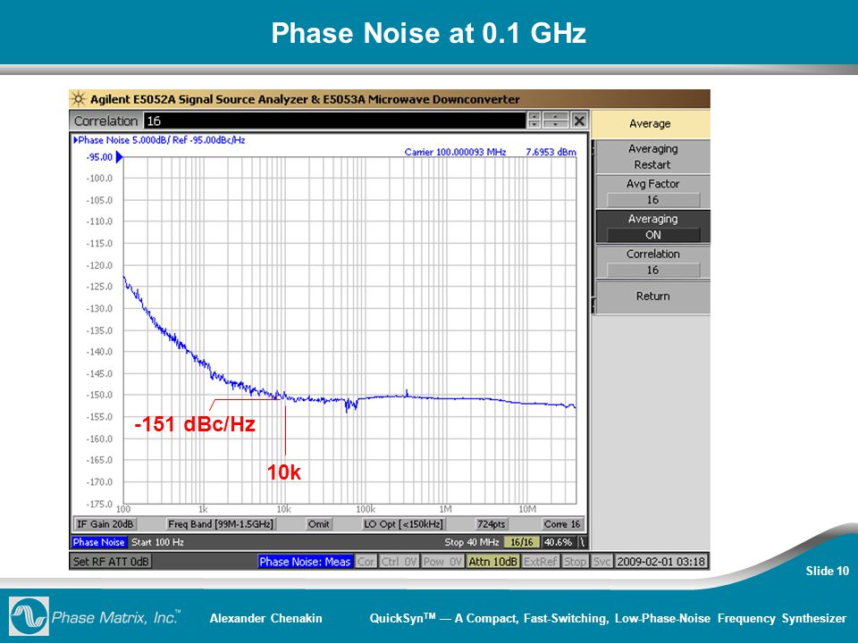 Alexander Chenakin QuickSyn TM — A Compact, Fast-Switching, Low-Phase-Noise Frequency Synthesizer Slide 10 Phase Noise at 0.1 GHz -151 dBc/Hz 10k