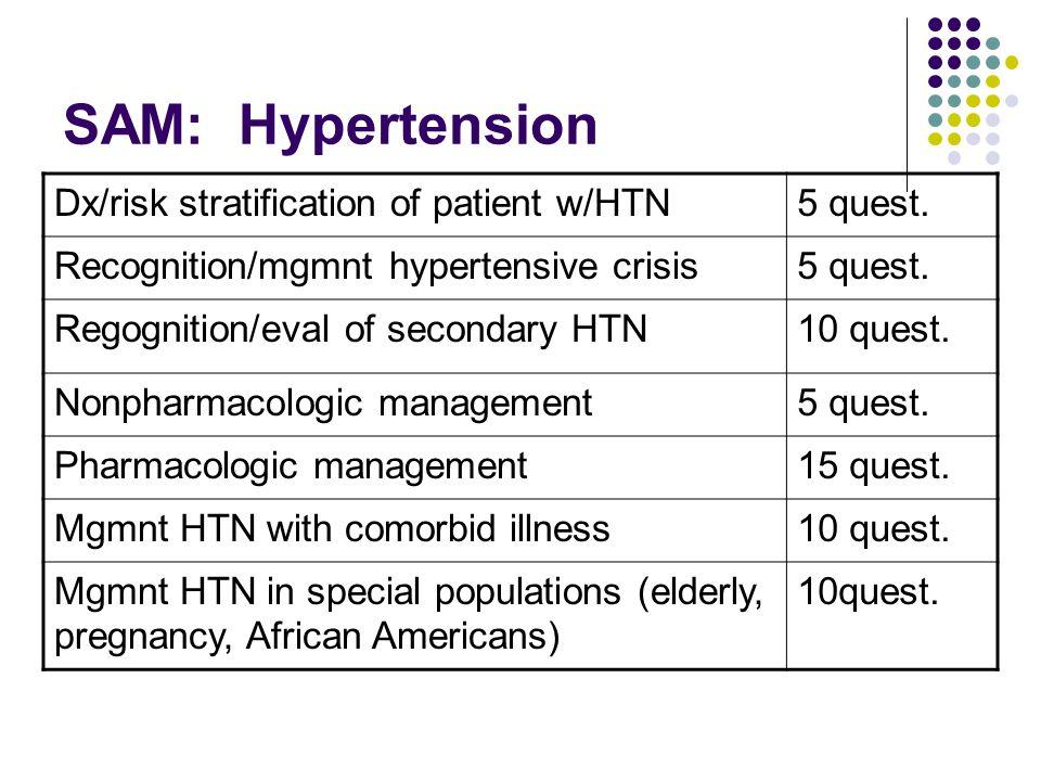 SAM: Hypertension Dx/risk stratification of patient w/HTN5 quest.