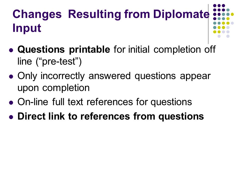 Changes Resulting from Diplomate Input Questions printable for initial completion off line ( pre-test ) Only incorrectly answered questions appear upon completion On-line full text references for questions Direct link to references from questions