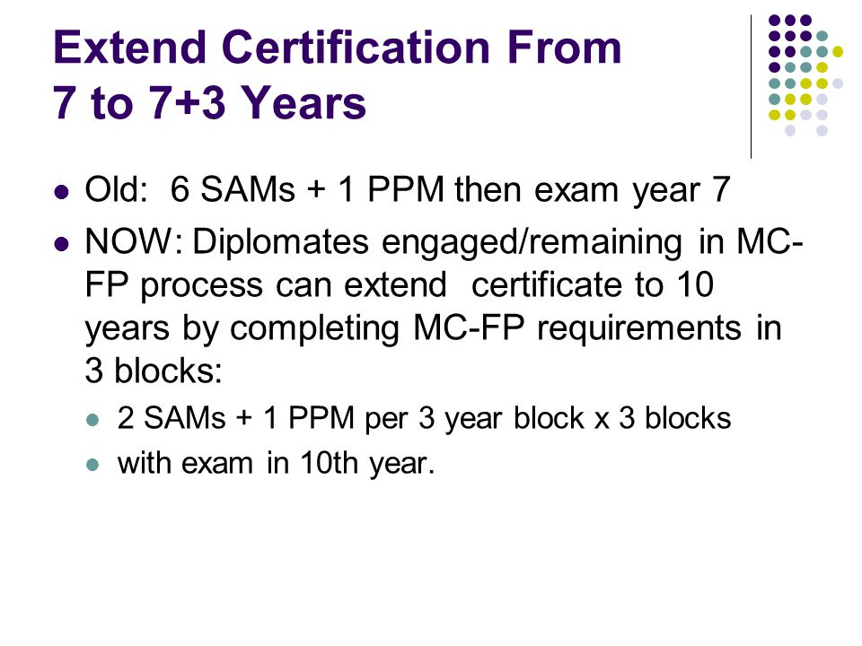 Extend Certification From 7 to 7+3 Years Old: 6 SAMs + 1 PPM then exam year 7 NOW: Diplomates engaged/remaining in MC- FP process can extend certifica