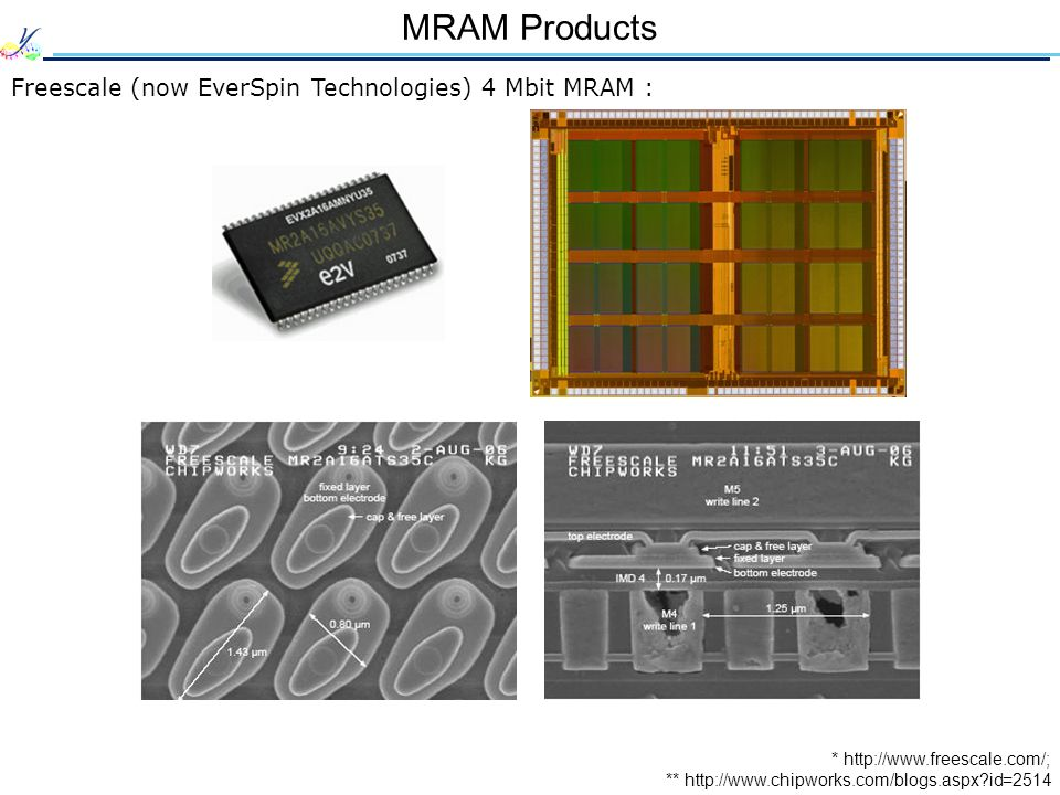 MRAM Products Freescale (now EverSpin Technologies) 4 Mbit MRAM : ** http://www.chipworks.com/blogs.aspx id=2514 * http://www.freescale.com/;