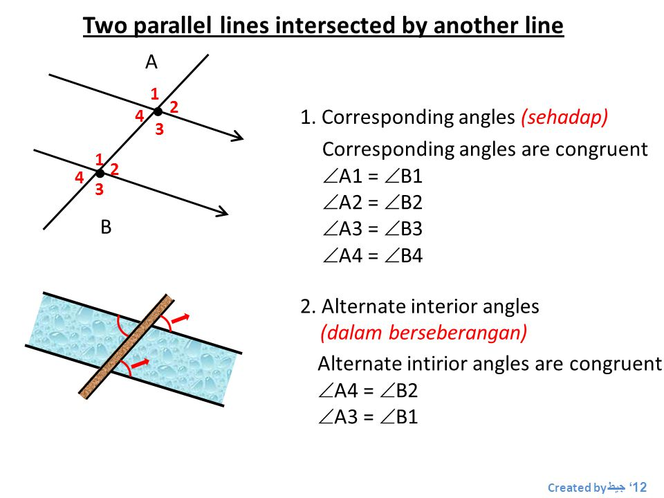 Two parallel lines intersected by another line   A B 1 1 2 2 3 3 4 4 1.