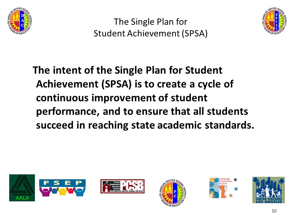 DELACDELAC DACDAC PCPC The Single Plan for Student Achievement (SPSA) The intent of the Single Plan for Student Achievement (SPSA) is to create a cycle of continuous improvement of student performance, and to ensure that all students succeed in reaching state academic standards.