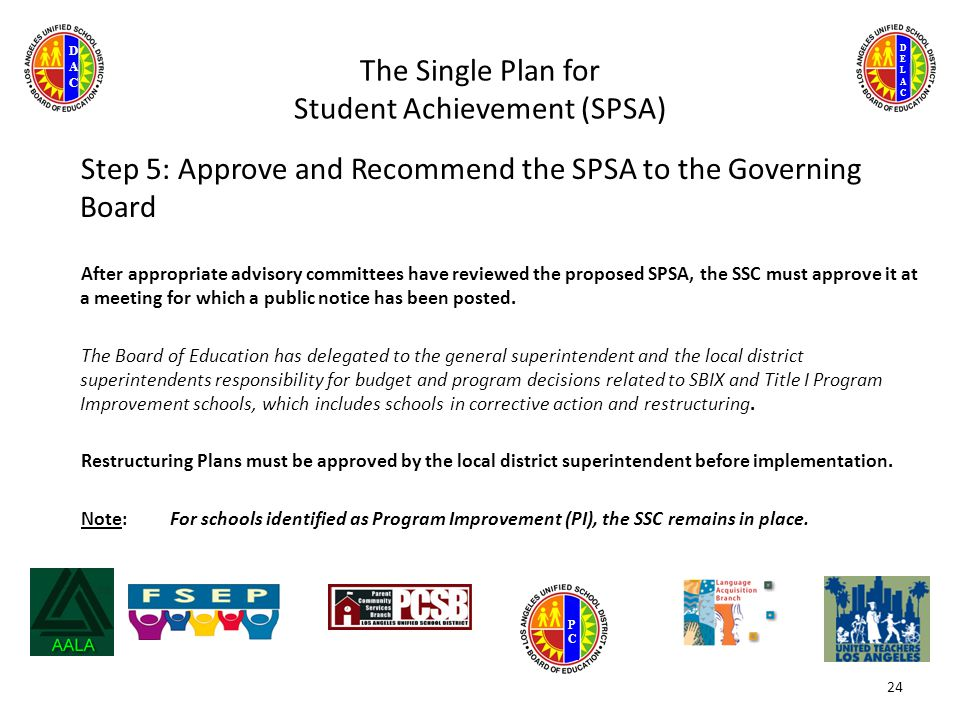 DELACDELAC DACDAC PCPC The Single Plan for Student Achievement (SPSA) Step 5: Approve and Recommend the SPSA to the Governing Board After appropriate advisory committees have reviewed the proposed SPSA, the SSC must approve it at a meeting for which a public notice has been posted.