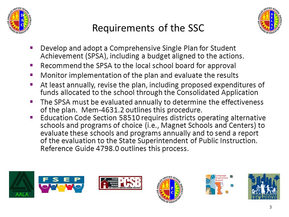 DELACDELAC DACDAC PCPC 3 Requirements of the SSC  Develop and adopt a Comprehensive Single Plan for Student Achievement (SPSA), including a budget aligned to the actions.
