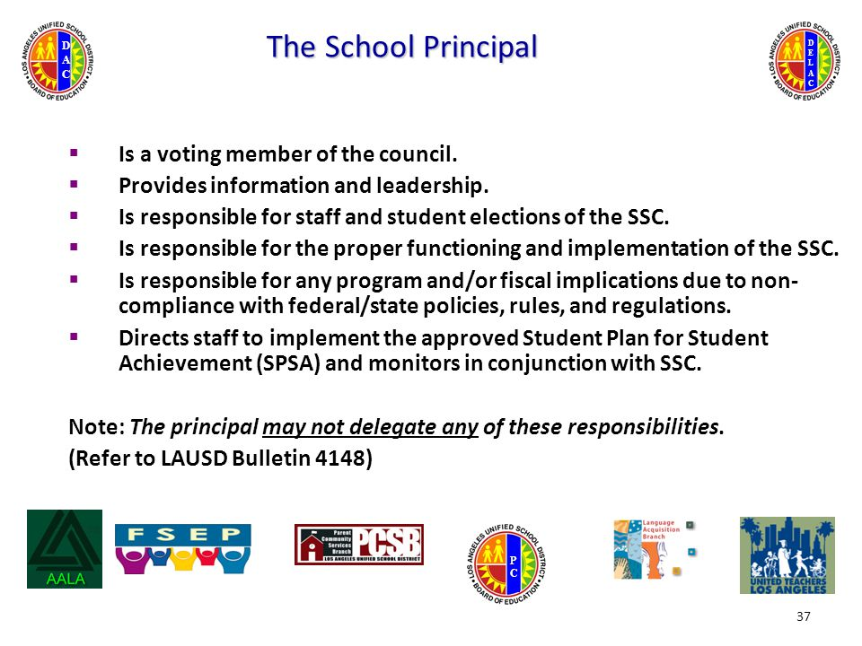 DELACDELAC DACDAC PCPC The School Principal  Is a voting member of the council.