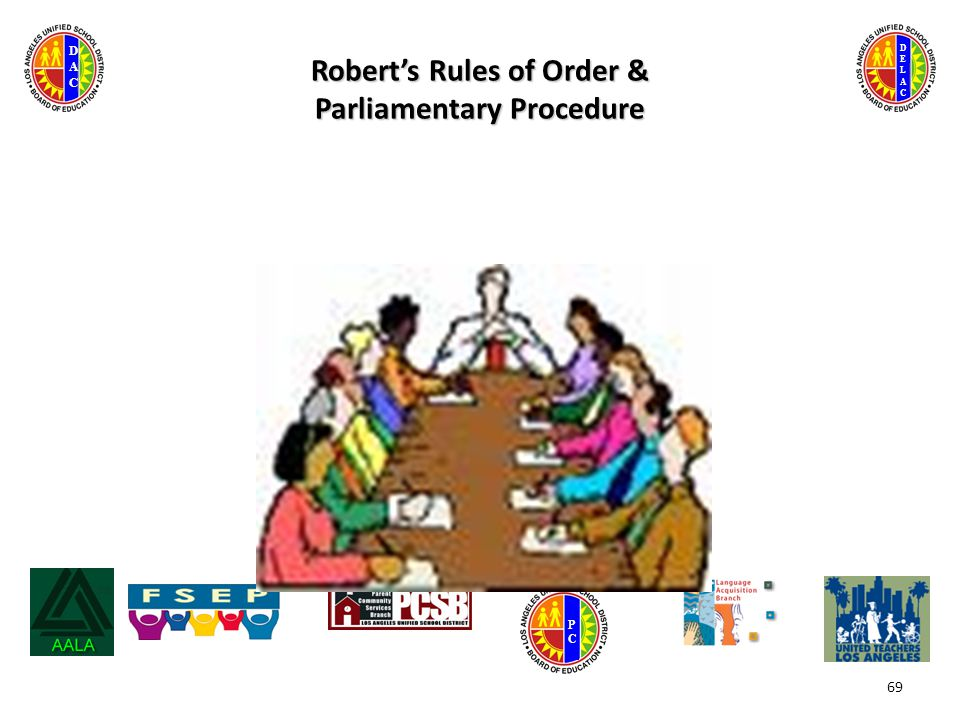 DELACDELAC DACDAC PCPC Robert's Rules of Order & Parliamentary Procedure 69