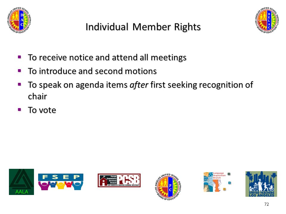 DELACDELAC DACDAC PCPC Individual Member Rights  To receive notice and attend all meetings  To introduce and second motions  To speak on agenda items after first seeking recognition of chair  To vote 72
